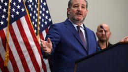 WASHINGTON, DC - MAY 12: Sen. Ted Cruz (R-TX) gestures as he speaks during a news conference on the U.S. Southern Border and President Joe Biden's immigration policies, in the Hart Senate Office Building on May 12, 2021 in Washington, DC. Homeland Security Secretary Alejandro Mayorkas will testify on May 13 before the Senate Homeland Security and Governmental Affairs Committee on the DHS treatment of unaccompanied minors at the U.S. Southern border. (Photo by Anna Moneymaker/Getty Images)