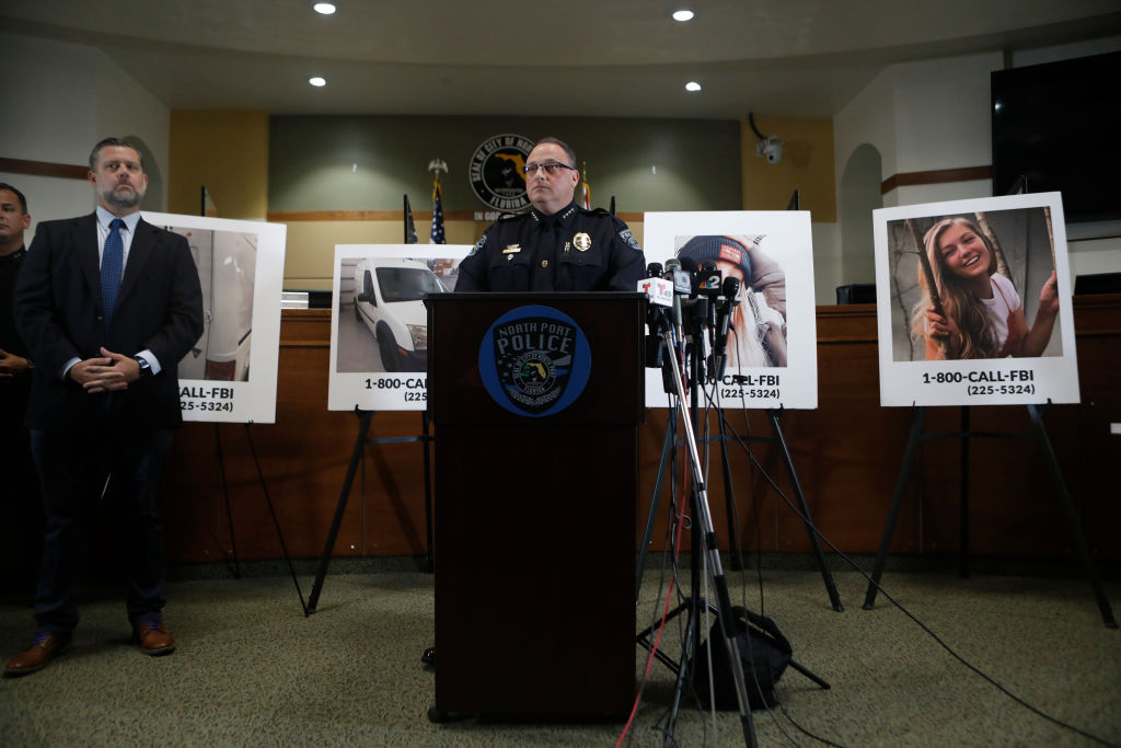 NORTH PORT, FL - SEPTEMBER 16: The City of North Port Chief of Police Todd Garrison speaks during a news conference for missing person Gabby Petito on September 16, 2021 in North Port, Florida. Gabby Petito went missing while on a cross country trip with her boyfriend Brian Laundrie and has not been seen or heard from since late August. Police said no criminality is suspected at this time but her fiance, Brian Laundrie, has refused to speak with law enforcement. Laundrie has be identified as a person of interest but investigators are solely focused on finding Petito. (Photo by Octavio Jones/Getty Images)
