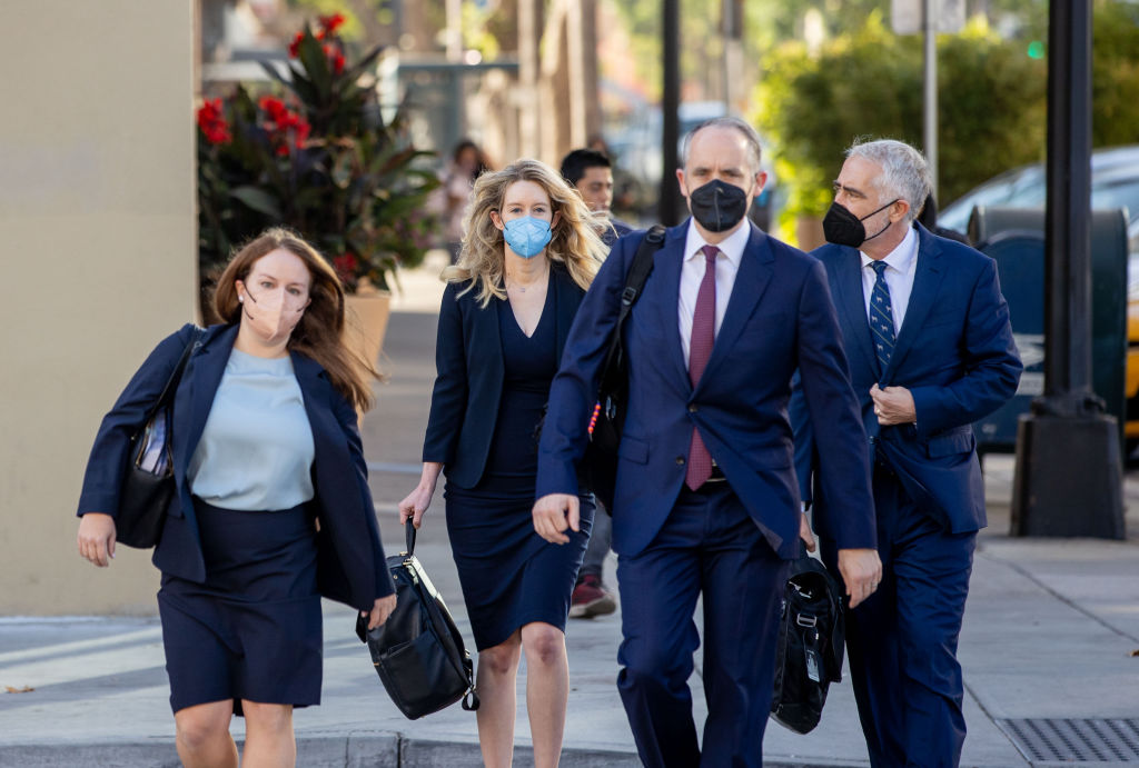 SAN JOSE, CA - AUGUST 31: Theranos founder Elizabeth Holmes arrives at the Robert F. Peckham Federal Building with her defense team on August 31, 2021 in San Jose, California. Holmes is on trial after being indicted on multiple counts of fraud for misrepresenting her company's blood-testing technology. (Photo by Ethan Swope/Getty Images)