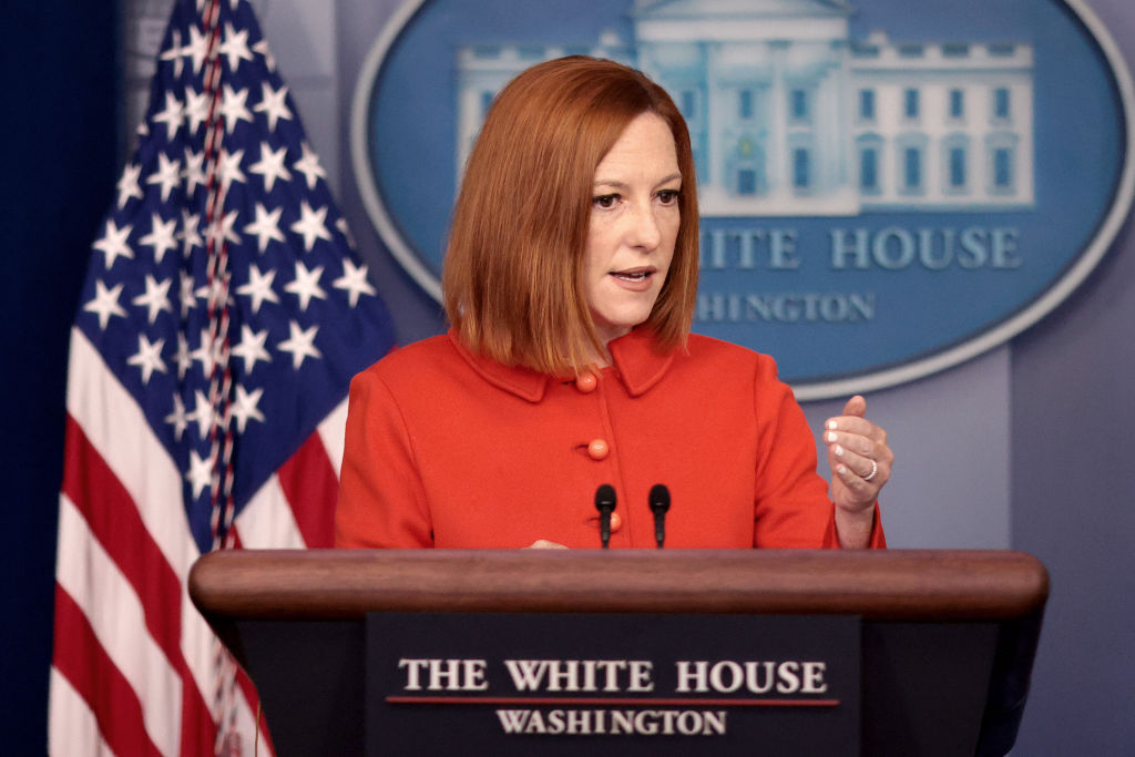 WASHINGTON, DC - SEPTEMBER 15: White House press secretary Jen Psaki answers questions in the White House press briefing room on September 15, 2021 in Washington, DC. Psaki answered a range of questions during the briefing. (Photo by Win McNamee/Getty Images)