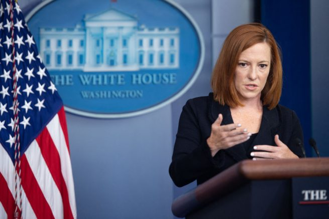 White House Press Secretary Jen Psaki holds a press briefing in the Brady Press Briefing Room of the White House in Washington, DC, September 20, 2021. (Photo by SAUL LOEB / AFP) (Photo by SAUL LOEB/AFP via Getty Images)