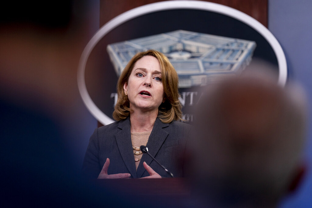 Deputy Secretary of Defense Kathleen Hicks speaks during a briefing at the Pentagon in Washington, Wednesday, Sept. 22, 2021, to announce that the Pentagon will act upon the 90-day commission recommendations on sexual assault and harassment in the military. (AP Photo/Andrew Harnik)