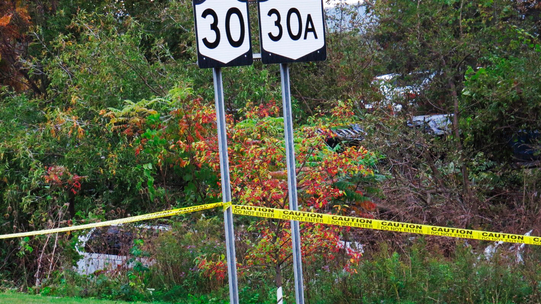 FILE - In this Saturday, Oct. 6, 2018 file photo, a limousine, left, has landed in the woods following a fatal crash in Schoharie, N.Y. The operator of a limousine company pleaded not guilty Wednesday, April 10, 2019, to 20 counts each of criminally negligent homicide and second-degree manslaughter in a crash that killed 20 people in rural upstate New York. Nauman Hussain was arraigned Wednesday in Schoharie County Court. (Tom Heffernan Sr. via AP, File)