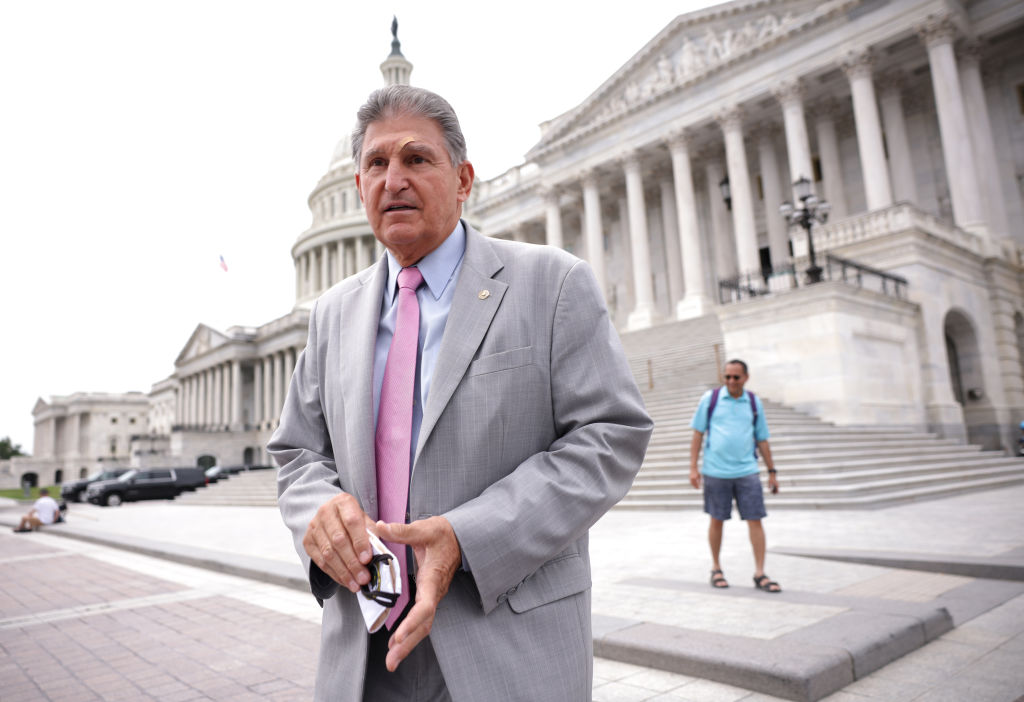 WASHINGTON, DC - AUGUST 03: Sen. Joe Manchin (D-WV) leaves the U.S. Capitol following a vote on August 03, 2021 in Washington, DC. The Senate has moved on to the amendments process this week for the legislative text of the $1 trillion infrastructure bill, which aims to fund improvements to roads, bridges, dams, climate resiliency and broadband internet. (Photo by Kevin Dietsch/Getty Images)