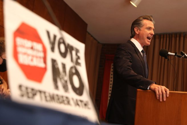 SAN FRANCISCO, CALIFORNIA - SEPTEMBER 14: California Gov. Gavin Newsom speaks to union workers and volunteers on election day at the IBEW Local 6 union hall on September 14, 2021 in San Francisco, California. Californians are heading to the polls to cast their ballots in the California recall election of Gov. Gavin Newsom. (Photo by Justin Sullivan/Getty Images)