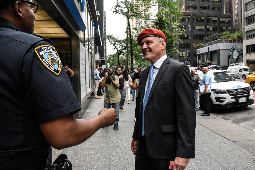 NEW YORK, NY - AUGUST 04: Curtis Sliwa, the Republican nominee for New York City Mayor, attends a protest against N.Y. Governor Andrew Cuomo and protest for a moratorium on evictions on August 4, 2021 in New York City. The dual issues arose after New York Attorney General Letitia James investigation concluded that Governor Cuomo did sexually harass multiple women and the eviction moratorium instated by the CDC due to the COVID-19 pandemic is slated to elapse at the end of the month. (Photo by Stephanie Keith/Getty Images)