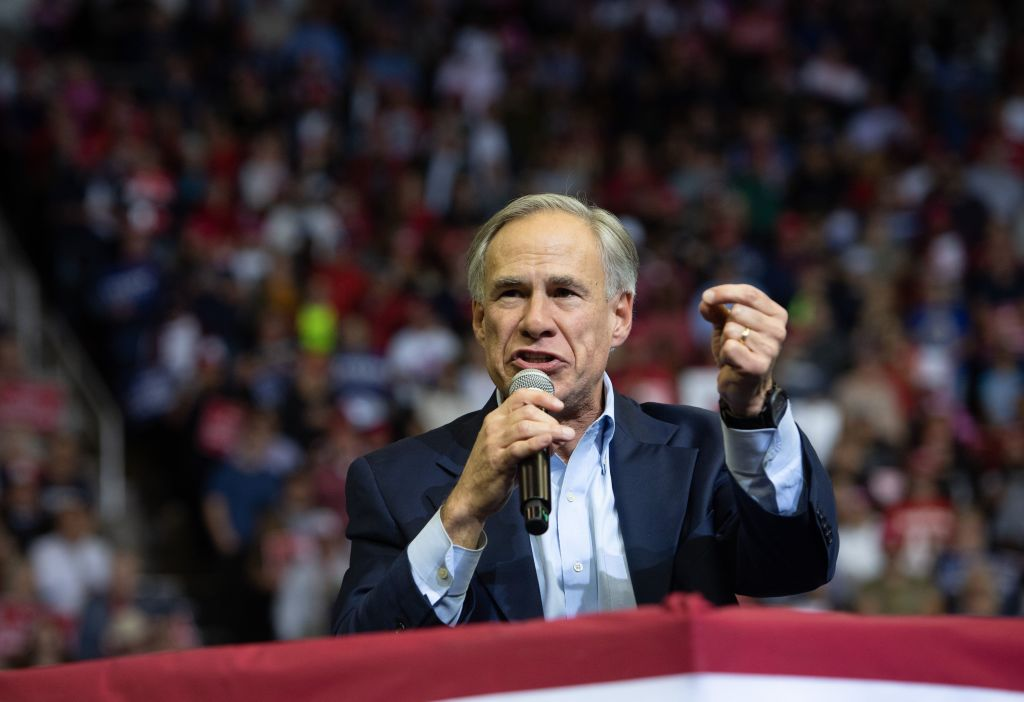 Texas Republican Governor Greg Abbott speaks during a campaign rally by US President Donald Trump at the Toyota Center in Houston, Texas, October 22, 2018. (Photo by SAUL LOEB / AFP) (Photo credit should read SAUL LOEB/AFP via Getty Images)