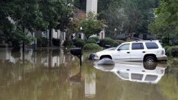 A flooded neighborhood is shown in Pelham, Ala., Thursday, Oct. 7, 2021. Parts of Alabama remain under a flash flood watch after a day of high water across the state, with as much as 6 inches of rain covering roads and trapping people. (AP Photo/Jay Reeves)