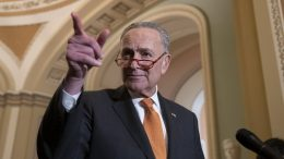 Senate Minority Leader Chuck Schumer of N.Y., points to a question as he speaks with reporters Tuesday, Dec. 3, 2019 in Washington, on Capitol Hill. (AP Photo/Alex Brandon)
