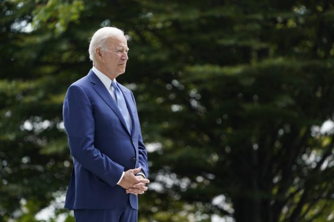 Joe Biden waits to speak on the North Lawn of the White House in Washington, Friday, Oct. 8, 2021, during an event announcing that his administration is restoring protections for two sprawling national monuments in Utah that have been at the center of a long-running public lands dispute, and a separate marine conservation area in New England that recently has been used for commercial fishing. (AP Photo/Susan Walsh)