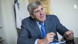 Economist Stephen Moore is interviewed in his Washington office. (Tom Williams / CQ Roll Call via AP)