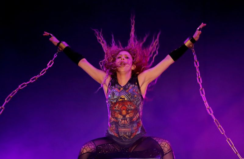 FILE PHOTO: Colombian singer Shakira performs in the opening of the Cedars International Festival In Bcharre