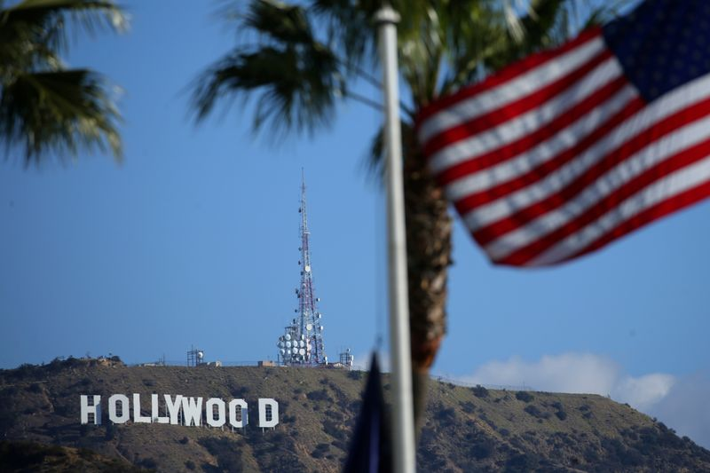 The iconic Hollywood sign is pictured from near the arrivals area for the 90th Academy Awards in Hollywood, Los Angeles