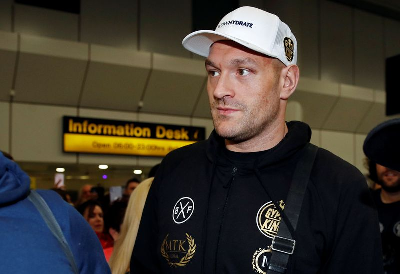 WBC Heavyweight boxing champion Tyson Fury arrives at Manchester Airport, in Manchester