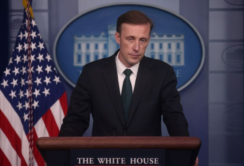 U.S. national security adviser Jake Sullivan holds a news briefing about the situation in Afghanistan