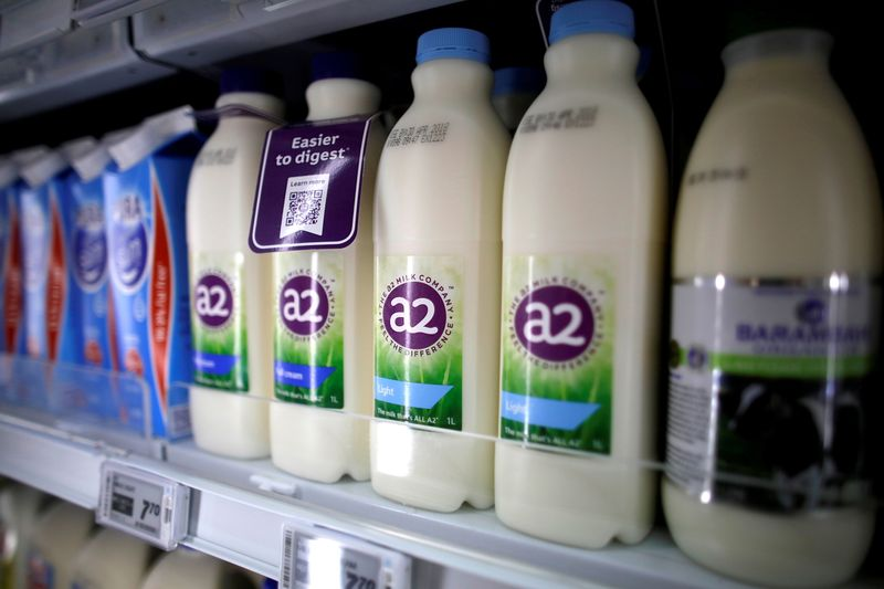 FILE PHOTO: A2 milk is seen on a supermarket shelf in Singapore