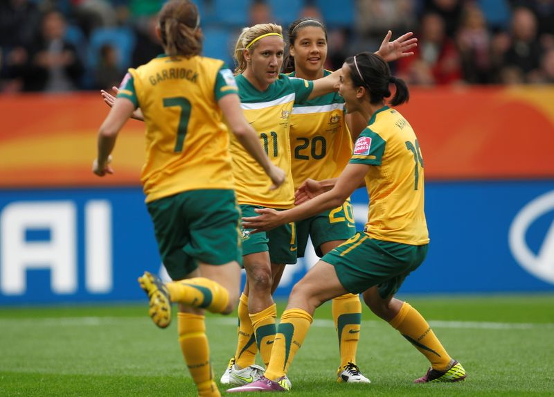 FILE PHOTO: Players of Australia celebrate a goal against of Equatorial Guinea during their Women's World Cup Group D soccer match in Bochum