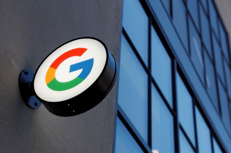 A sign is seen at the entrance to the Google retail store in the Chelsea neighborhood of New York City