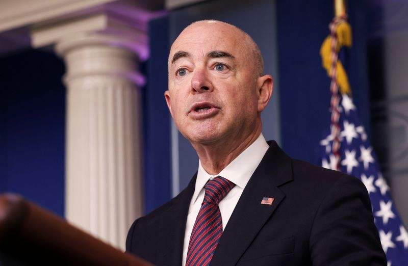 Homeland Security Secretary Mayorkas addresses the daily briefing at the White House in Washington