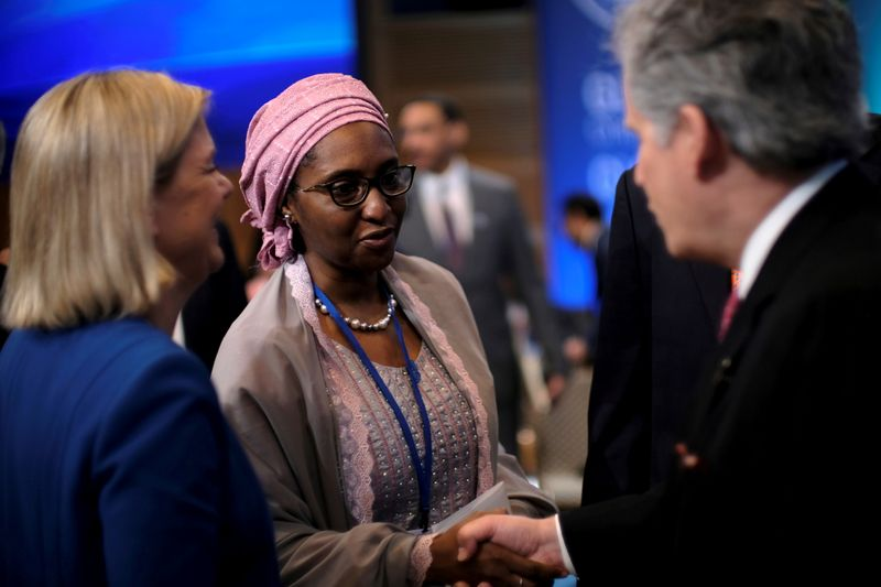 FILE PHOTO: Nigerian Finance Minister Zainab Ahmed attends the IMF and World Bank's 2019 Annual Spring Meetings, in Washington