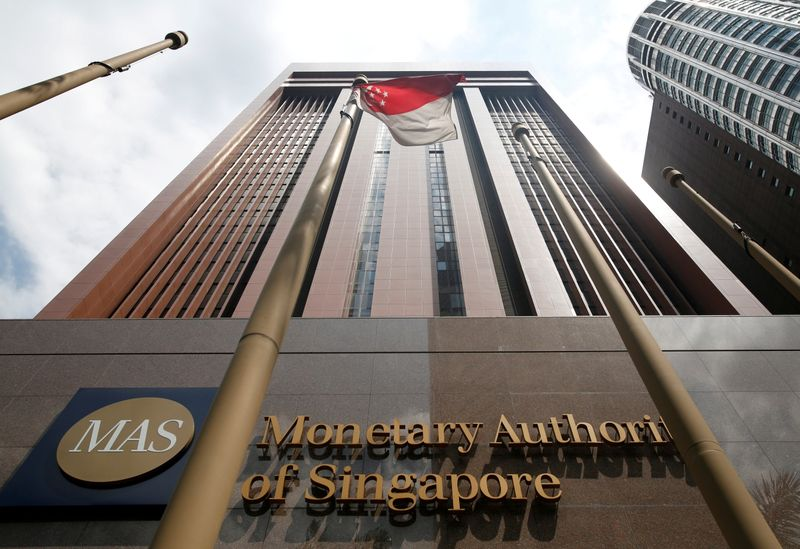 FILE PHOTO: A view of the Monetary Authority of Singapore's headquarters in Singapore