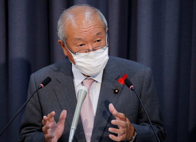 FILE PHOTO: Japan's new FM Suzuki speaks at a news conference in Tokyo