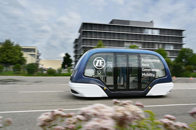 A ZF autonomous shuttle built using software developed by self-driving startup Oxbotica