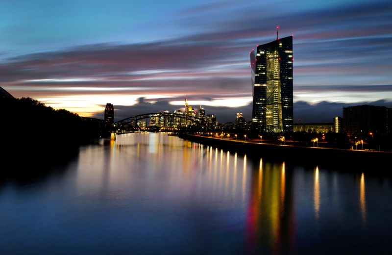 The skyline with the banking district and the headquarters of the European Central Bank (ECB) are photographed in Frankfurt