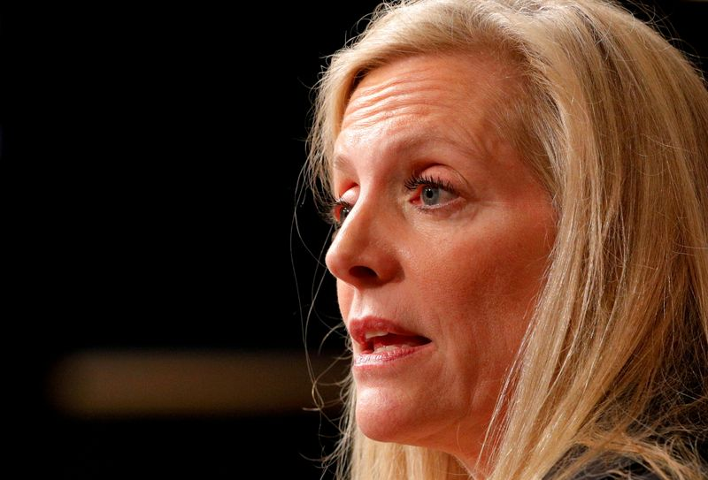FILE PHOTO: FILE PHOTO: Federal Reserve Board Governor Lael Brainard speaks at the John F. Kennedy School of Government at Harvard University in Cambridge