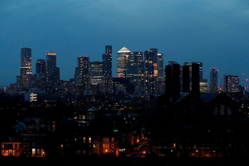 Canary Wharf business district in London
