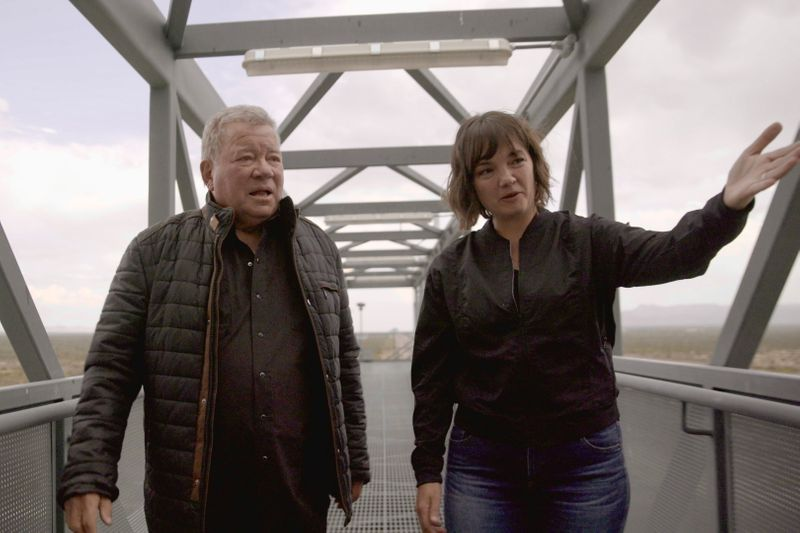William Shatner tours the launch tower with Blue Origin's Sarah Knights at Launch Site One