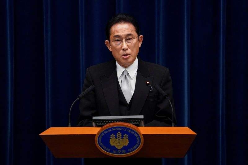 FILE PHOTO: FILE PHOTO: Fumio Kishida, Japan's prime minister, attends a news conference at the prime minister's official residence in Tokyo
