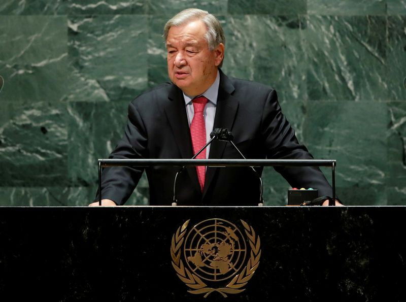 FILE PHOTO: United Nations Secretary-General Antonio Guterres addresses the 76th Session of the U.N. General Assembly in New York City