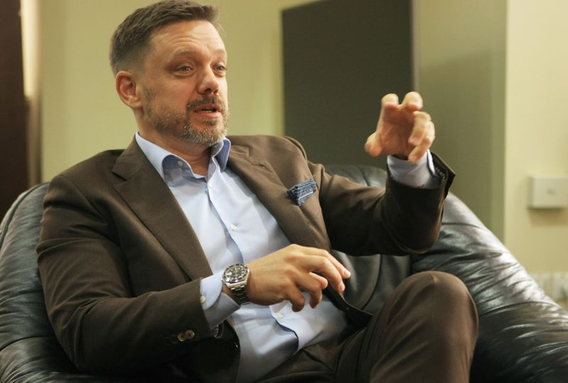 Yevgen Metsger, Chairman of the Management Board of the Ukreximbank, speaks during an interview in Kyiv