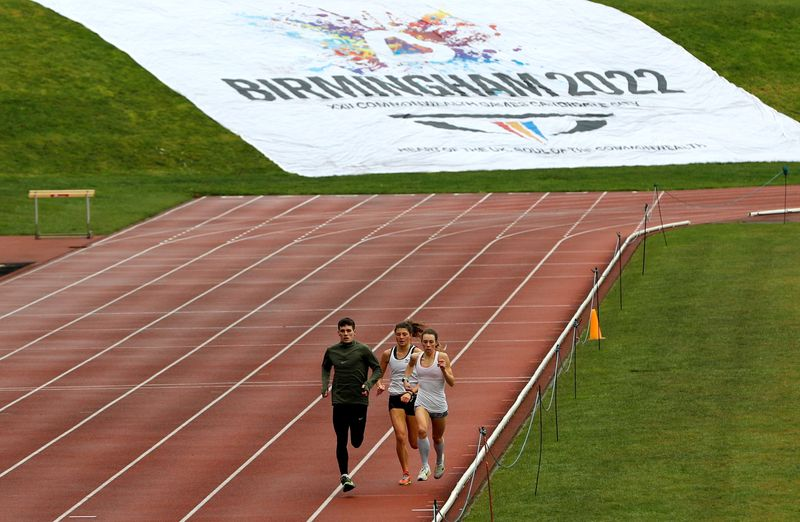 FILE PHOTO: Athletes train in the Alexander Athletics Stadium after the announcement that it will host the 2022 Commonwealth Games in Birmingham