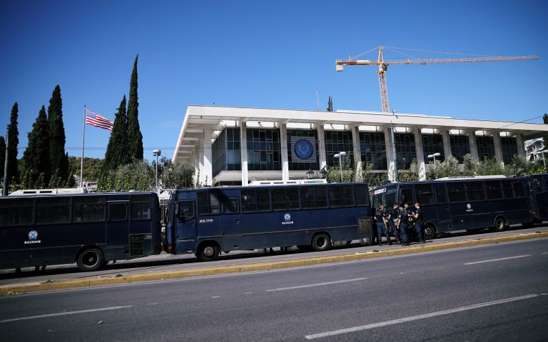 FILE PHOTO: Police secure the entrance to the U.S. embassy in Athens