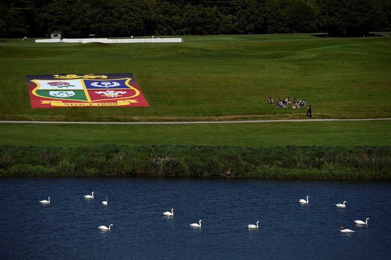 FILE PHOTO: General view of  the British & Irish Lions emblem on a banner outside Carton House after the press conference
