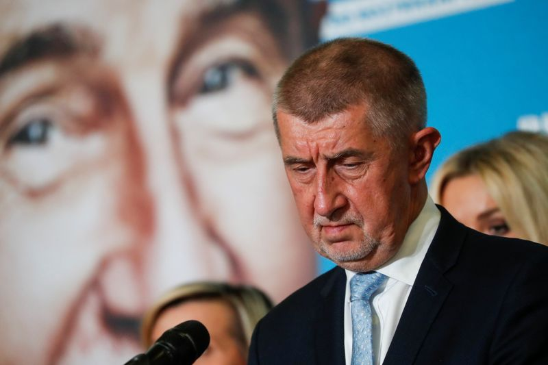 Czech PM and leader of ANO party Andrej Babis reacts at the party's election headquarters, in Prague