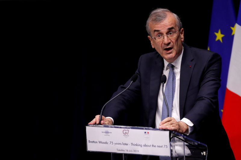 FILE PHOTO: Governor of the Bank of France Francois Villeroy de Galhau delivers a speech to open a conference entitled