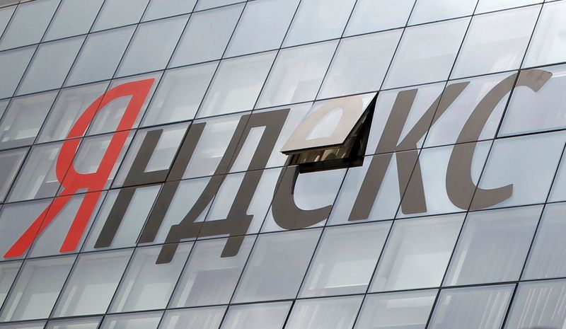 FILE PHOTO: The company logo is seen on the headquarters building of Yandex company, in Moscow