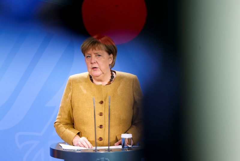 German Chancellor Angela Merkel gives news conference, in Berlin