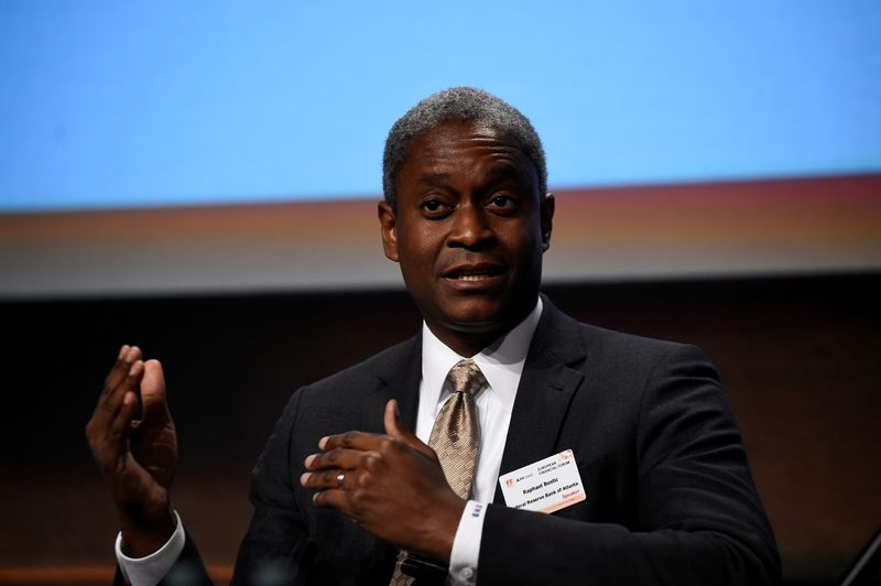 FILE PHOTO: President and Chief Executive Officer of the Federal Reserve Bank of Atlanta Raphael W. Bostic speaks at a European Financial Forum event in Dublin