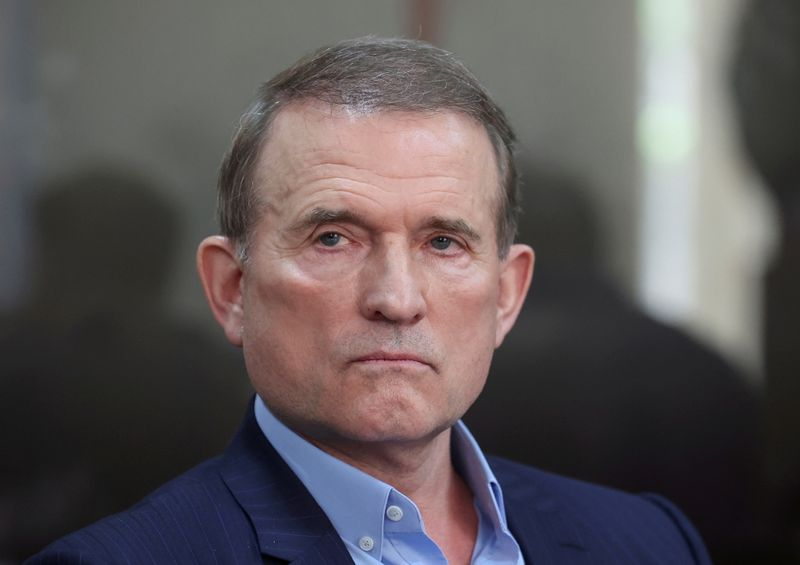 FILE PHOTO: Viktor Medvedchuk, leader of Opposition Platform - For Life political party, attends a court hearing in Kyiv