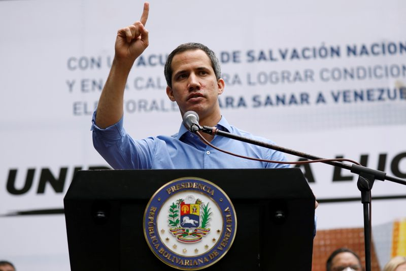 FILE PHOTO: Venezuela's opposition leader Guaido addresses the media in Caracas