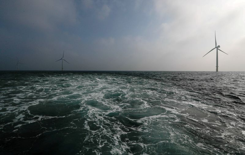 FILE PHOTO: Power-generating windmill turbines are seen at the Eneco Luchterduinen offshore wind farm near Amsterdam