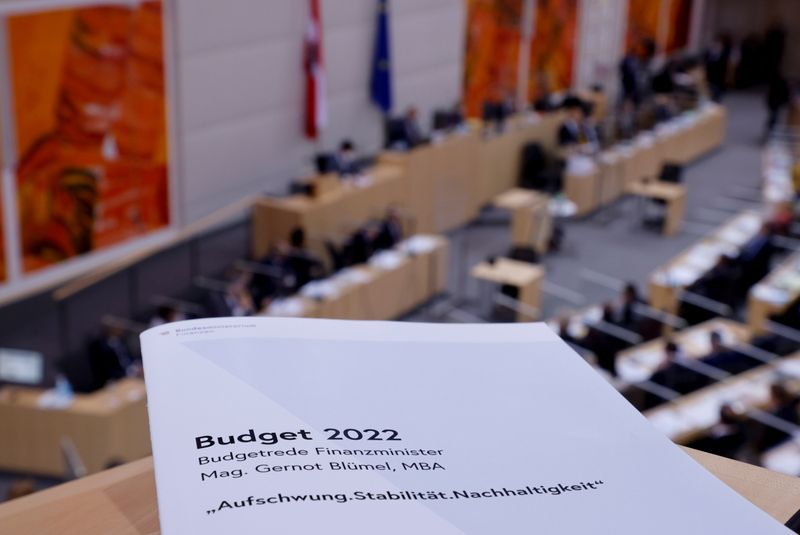 Budget speech during a session of the Austrian parliament in Vienna