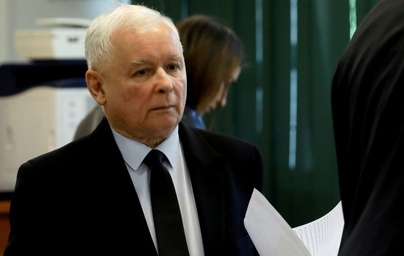 FILE PHOTO: Jaroslaw Kaczynski, leader of the ruling Law and Justice (PiS) party, attends a vote during parliamentary elections at a polling station in Warsaw,