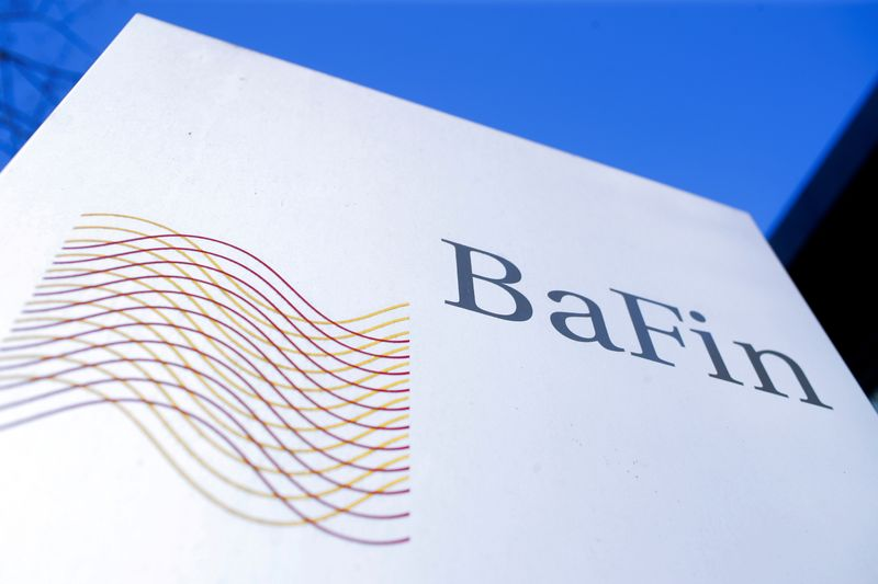 FILE PHOTO: The logo of Germany's Federal Financial Supervisory Authority BaFin (Bundesanstalt fuer Finanzdienstleistungsaufsicht) is pictured outside of an office building of the BaFin in Bonn