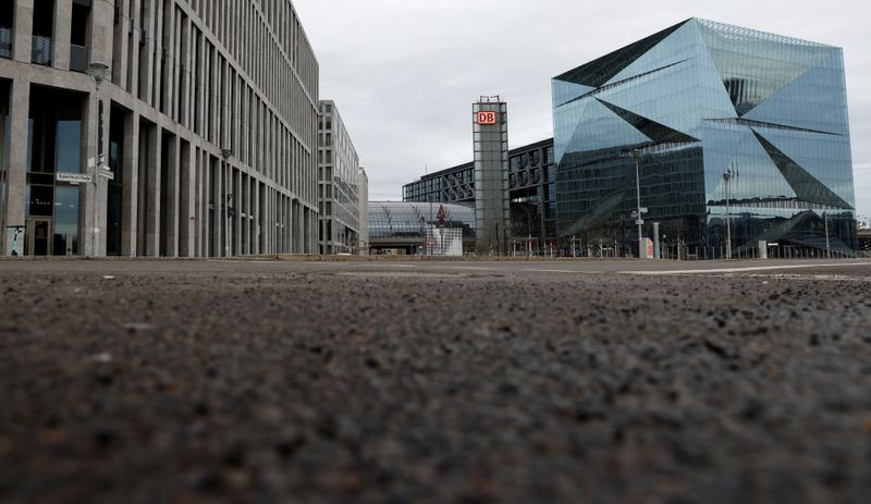 General view of empty streets in a business district in Berlin