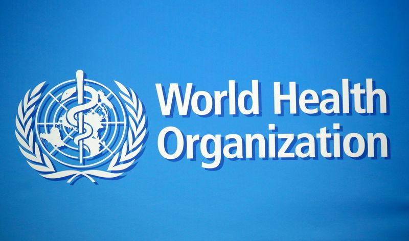 FILE PHOTO: The WHO logo is pictured at the WHO building in Geneva